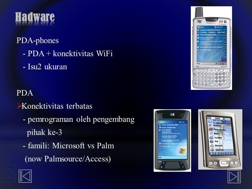 Hadware PDA-phones - PDA + konektivitas WiFi - Isu2 ukuran PDA
