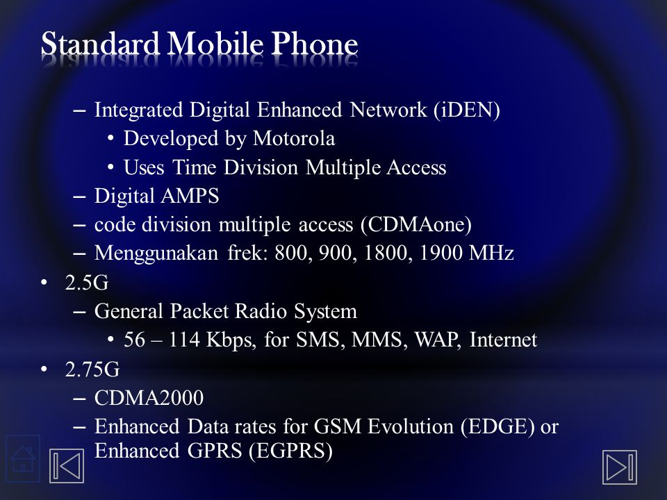 Standard Mobile Phone Integrated Digital Enhanced Network (iDEN)