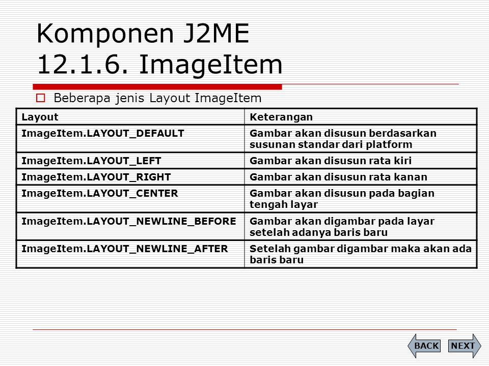 Komponen J2ME 12.1.6. ImageItem