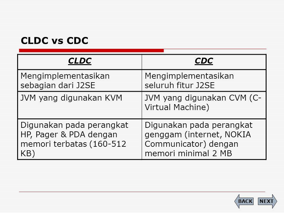 CLDC vs CDC CLDC CDC Mengimplementasikan sebagian dari J2SE