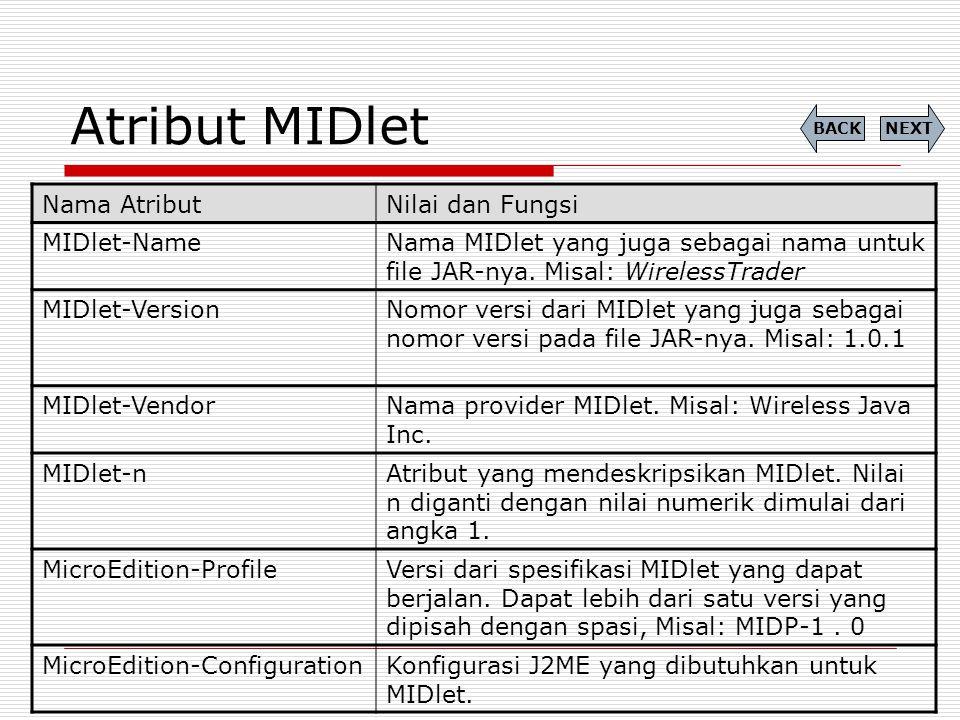 Atribut MIDlet Nama Atribut Nilai dan Fungsi MIDlet-Name