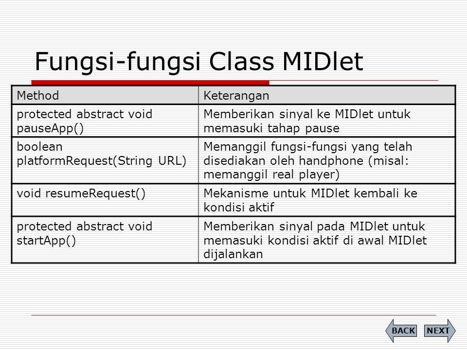 Fungsi-fungsi Class MIDlet