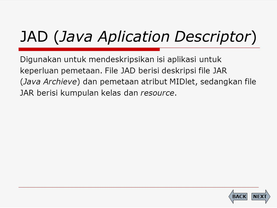 JAD (Java Aplication Descriptor)