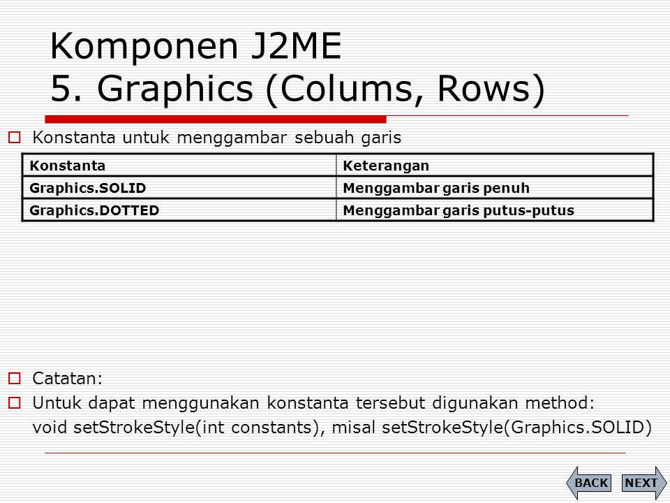 Komponen J2ME 5. Graphics (Colums, Rows)