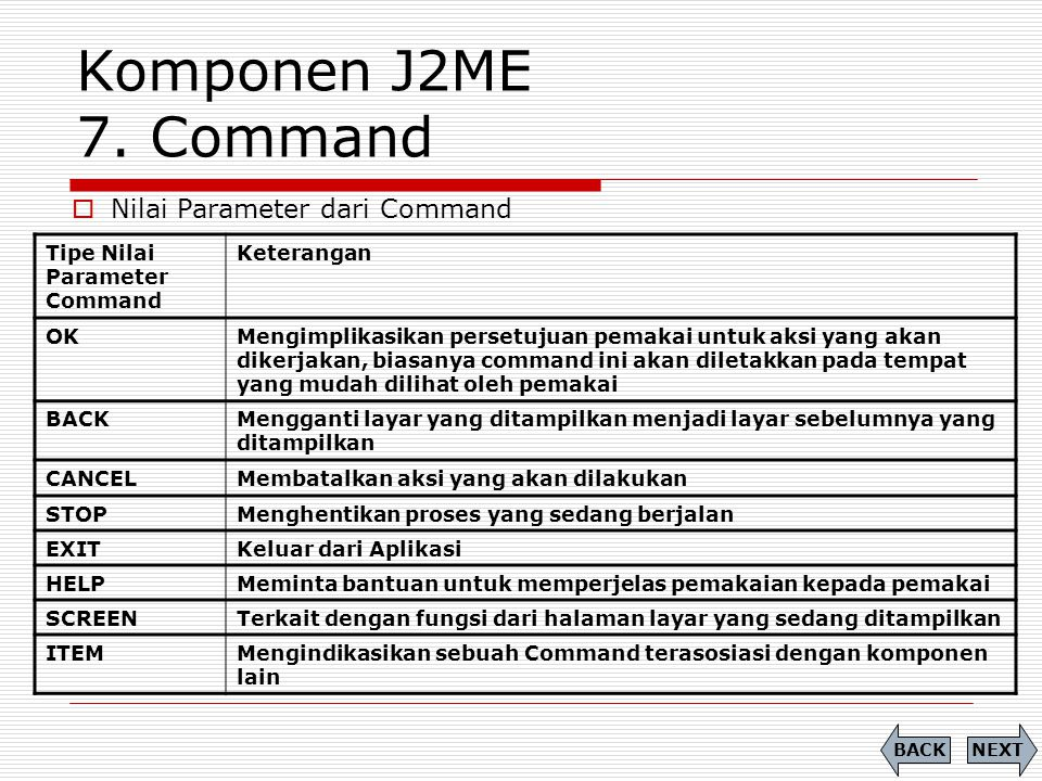 Komponen J2ME 7. Command Nilai Parameter dari Command