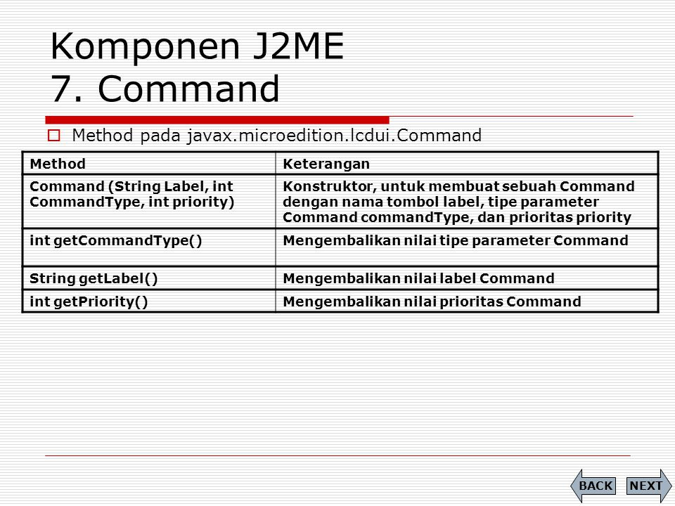 Komponen J2ME 7. Command Method pada javax.microedition.lcdui.Command