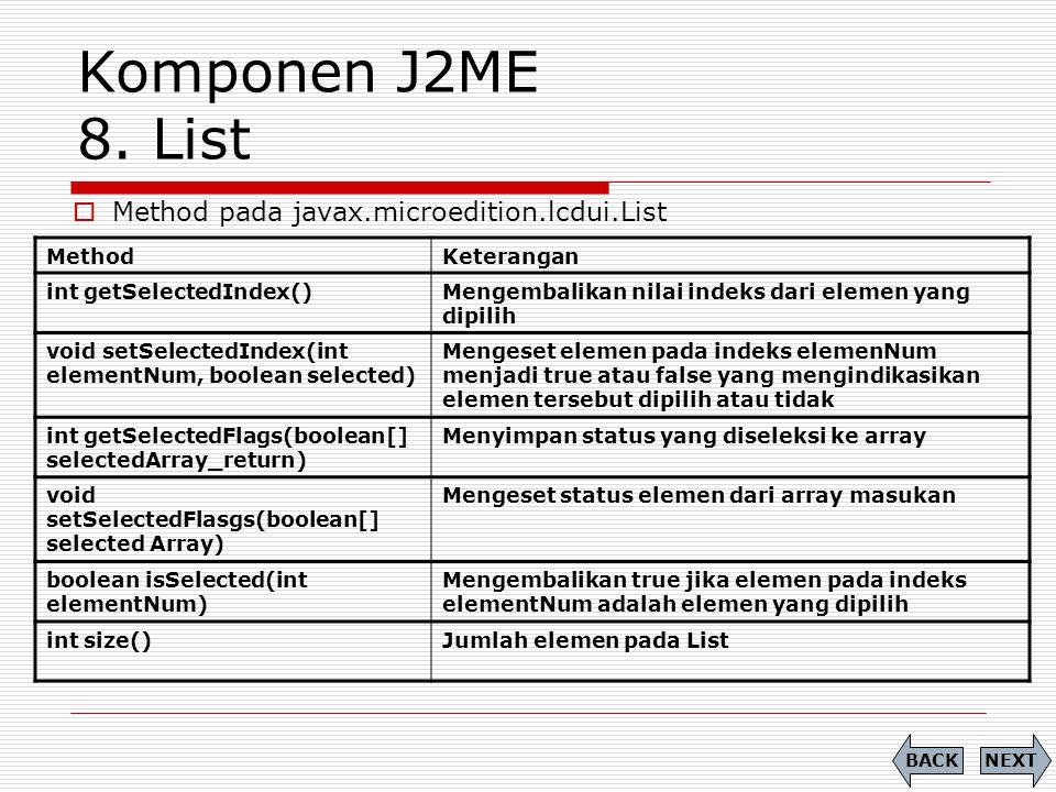 Komponen J2ME 8. List Method pada javax.microedition.lcdui.List Method