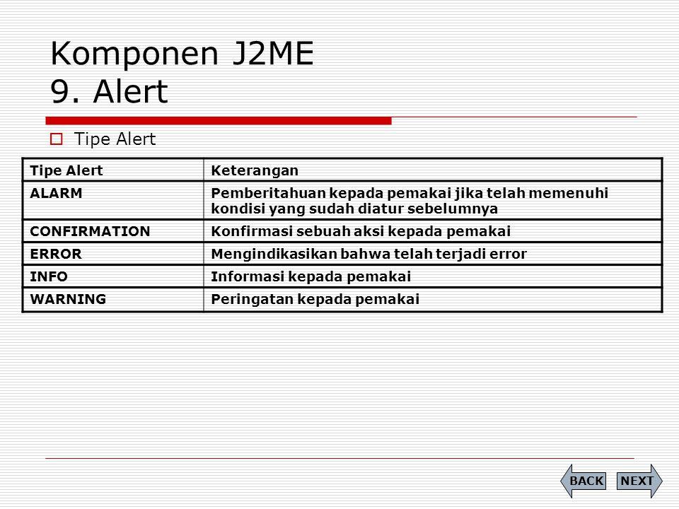 Komponen J2ME 9. Alert Tipe Alert Tipe Alert Keterangan ALARM