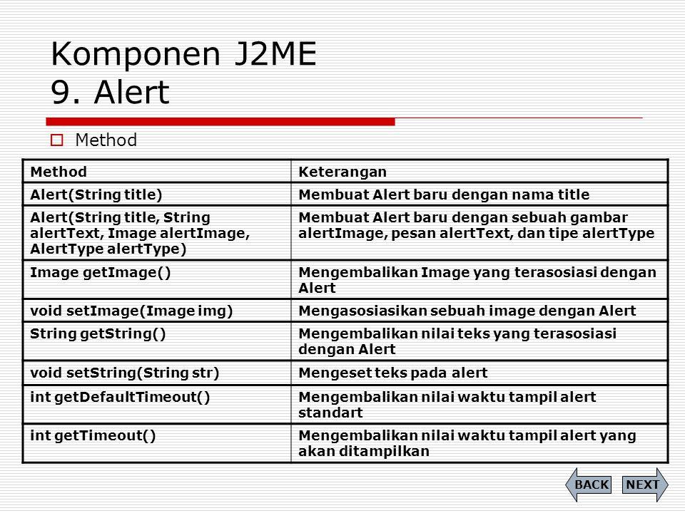 Komponen J2ME 9. Alert Method Method Keterangan Alert(String title)
