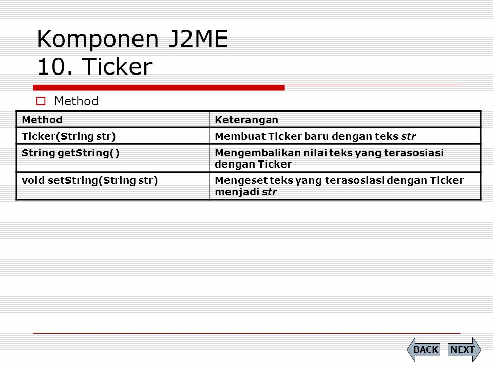 Komponen J2ME 10. Ticker Method Method Keterangan Ticker(String str)