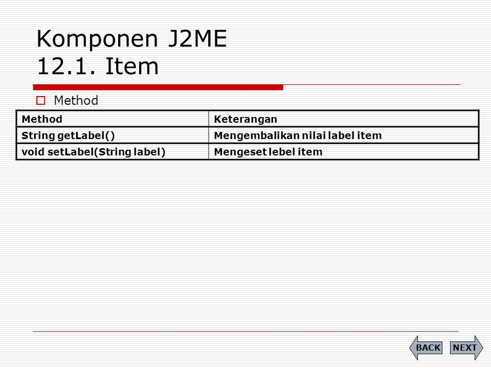 Komponen J2ME 12.1. Item Method Method Keterangan String getLabel()