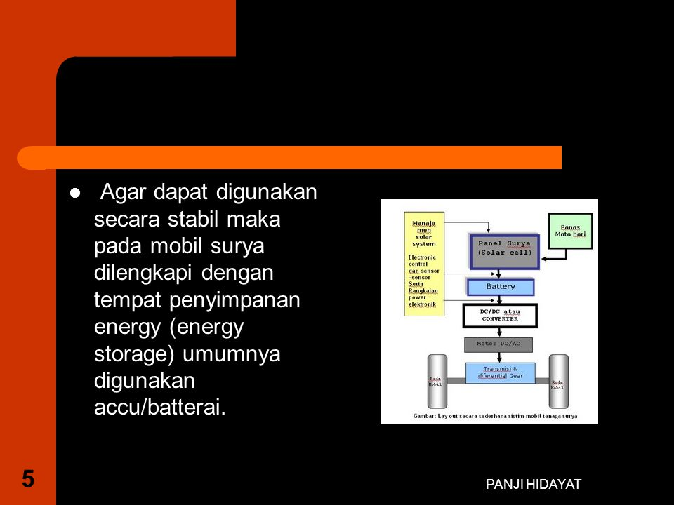 Agar dapat digunakan secara stabil maka pada mobil surya dilengkapi dengan tempat penyimpanan energy (energy storage) umumnya digunakan accu/batterai.