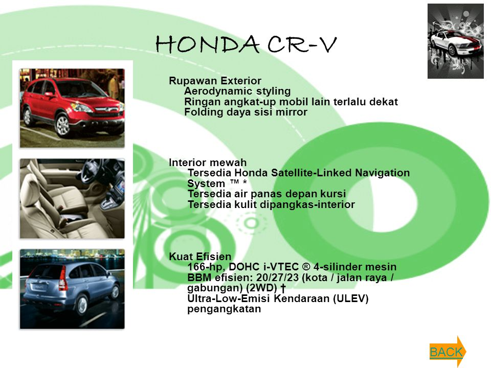 HONDA CR-V Rupawan Exterior Aerodynamic styling Ringan angkat-up mobil lain terlalu dekat Folding daya sisi mirror.