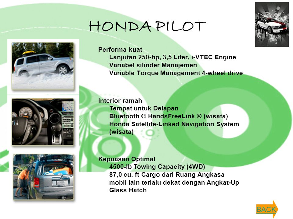HONDA PILOT Performa kuat Lanjutan 250-hp, 3,5 Liter, i-VTEC Engine Variabel silinder Manajemen Variable Torque Management 4-wheel drive.