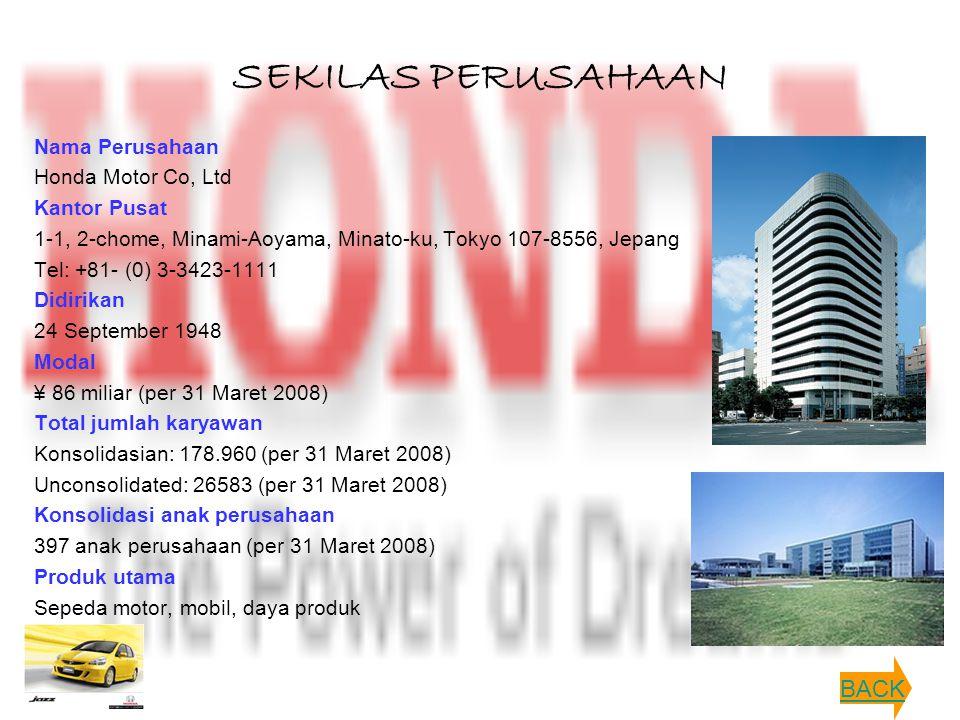 SEKILAS PERUSAHAAN BACK Nama Perusahaan Honda Motor Co, Ltd
