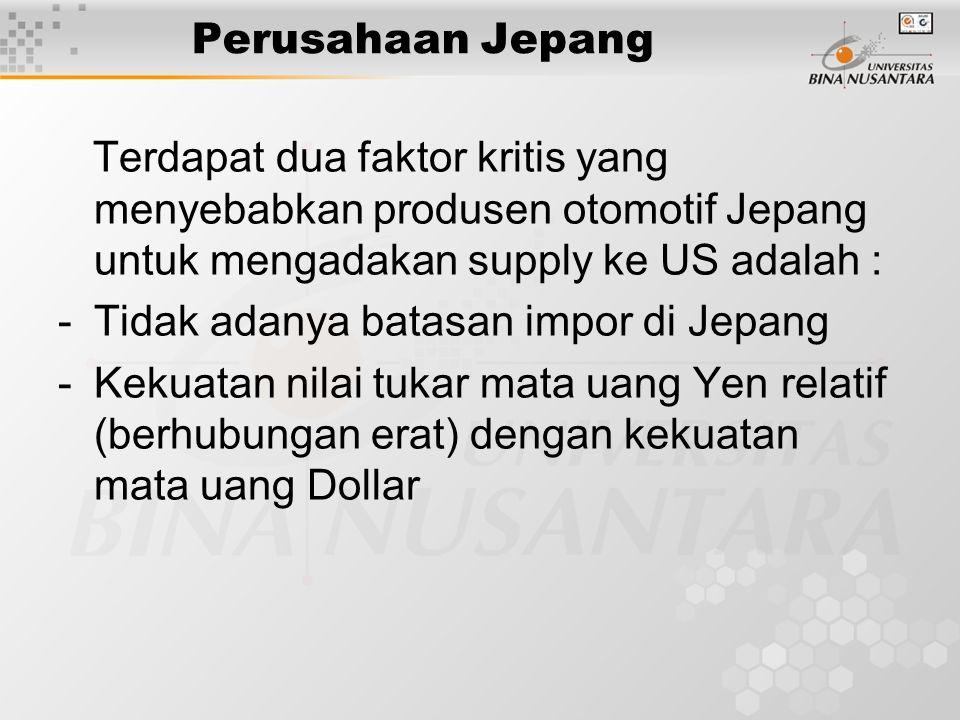 Perusahaan Jepang Terdapat dua faktor kritis yang menyebabkan produsen otomotif Jepang untuk mengadakan supply ke US adalah :