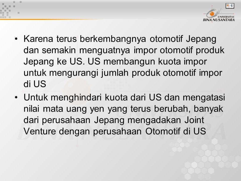 Karena terus berkembangnya otomotif Jepang dan semakin menguatnya impor otomotif produk Jepang ke US. US membangun kuota impor untuk mengurangi jumlah produk otomotif impor di US
