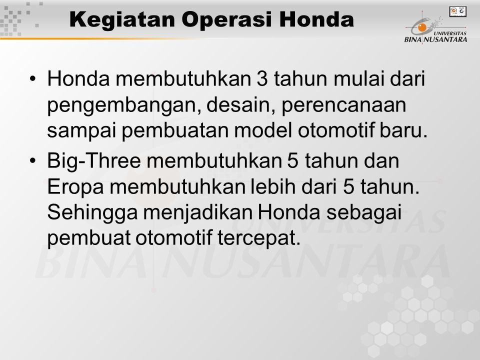 Kegiatan Operasi Honda