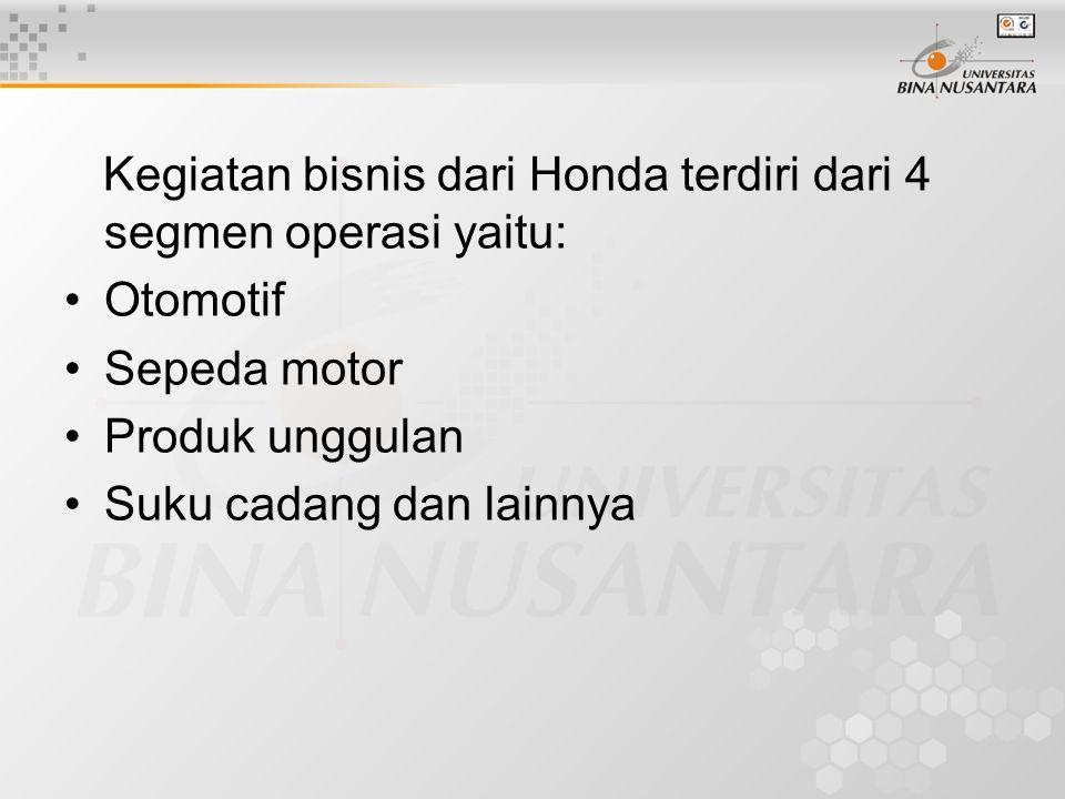 Kegiatan bisnis dari Honda terdiri dari 4 segmen operasi yaitu:
