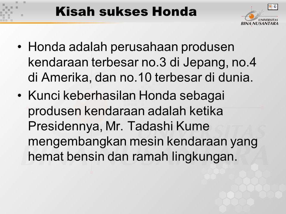 Kisah sukses Honda Honda adalah perusahaan produsen kendaraan terbesar no.3 di Jepang, no.4 di Amerika, dan no.10 terbesar di dunia.