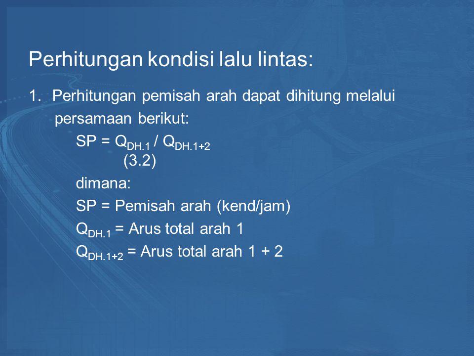 Perhitungan kondisi lalu lintas: