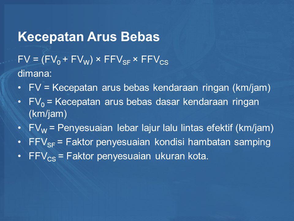 Kecepatan Arus Bebas FV = (FV0 + FVW) × FFVSF × FFVCS dimana:
