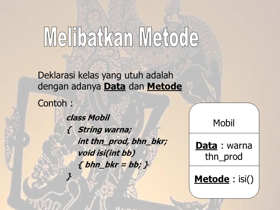 Melibatkan Metode Deklarasi kelas yang utuh adalah dengan adanya Data dan Metode. Contoh : class Mobil.