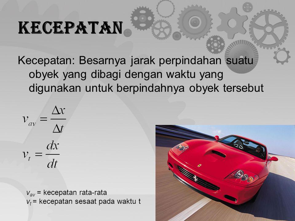 Kecepatan Kecepatan: Besarnya jarak perpindahan suatu obyek yang dibagi dengan waktu yang digunakan untuk berpindahnya obyek tersebut.