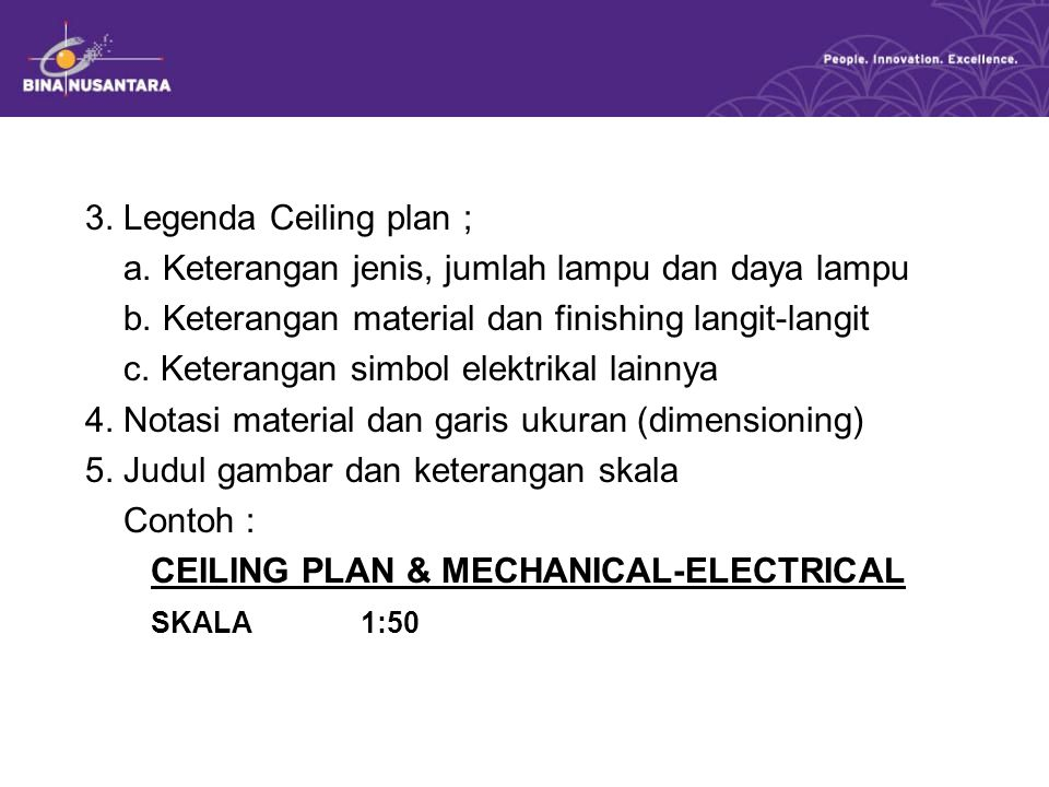 3. Legenda Ceiling plan ; a