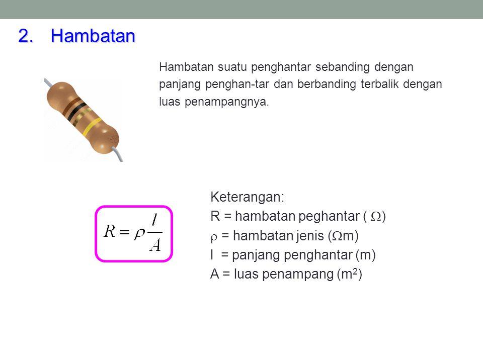 Hambatan Keterangan: R = hambatan peghantar () = hambatan jenis (m)