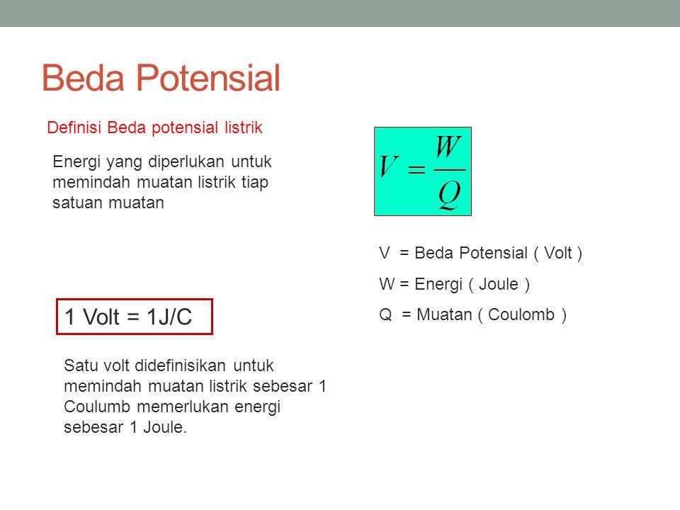 Beda Potensial 1 Volt = 1J/C Definisi Beda potensial listrik