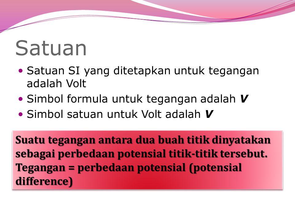 Satuan Satuan SI yang ditetapkan untuk tegangan adalah Volt. Simbol formula untuk tegangan adalah V.