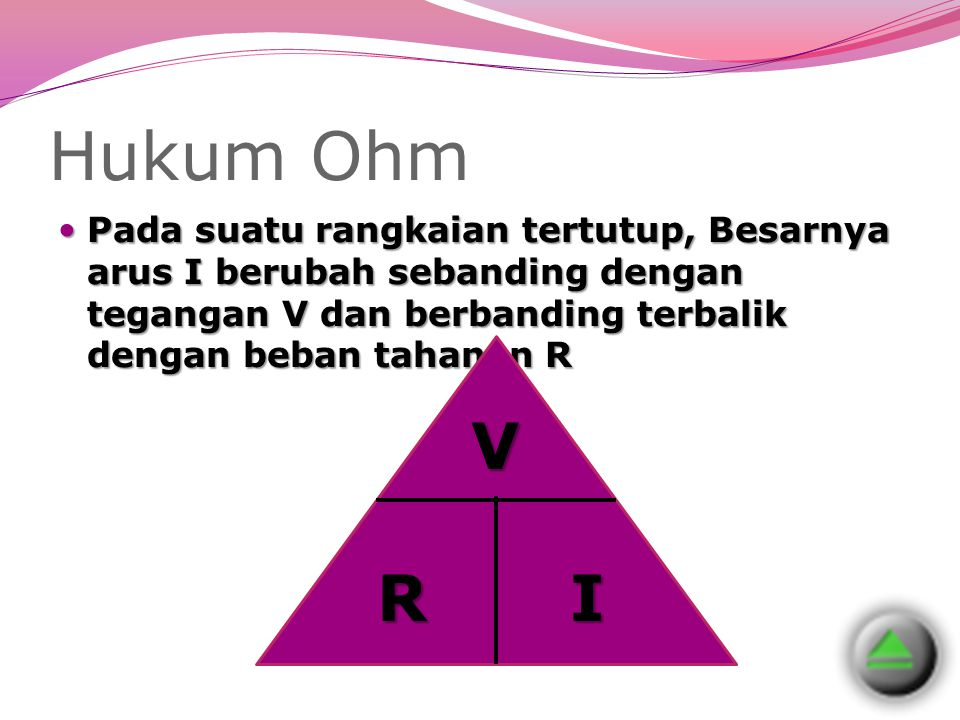Hukum Ohm Pada suatu rangkaian tertutup, Besarnya arus I berubah sebanding dengan tegangan V dan berbanding terbalik dengan beban tahanan R.