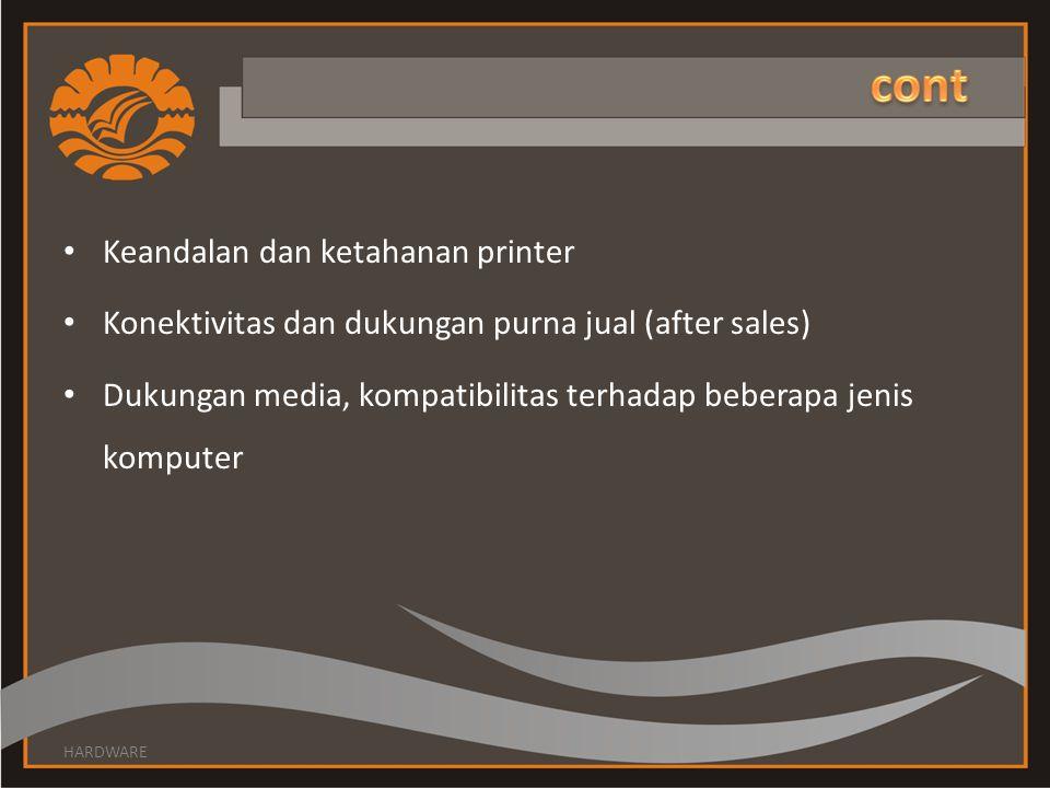 cont Keandalan dan ketahanan printer