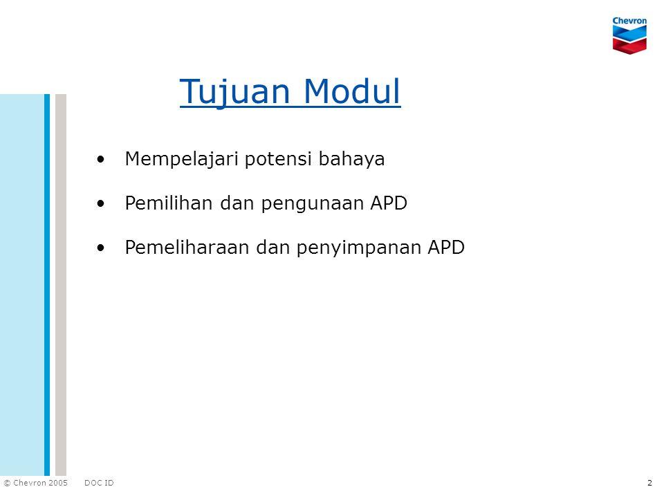 Tujuan Modul Mempelajari potensi bahaya Pemilihan dan pengunaan APD