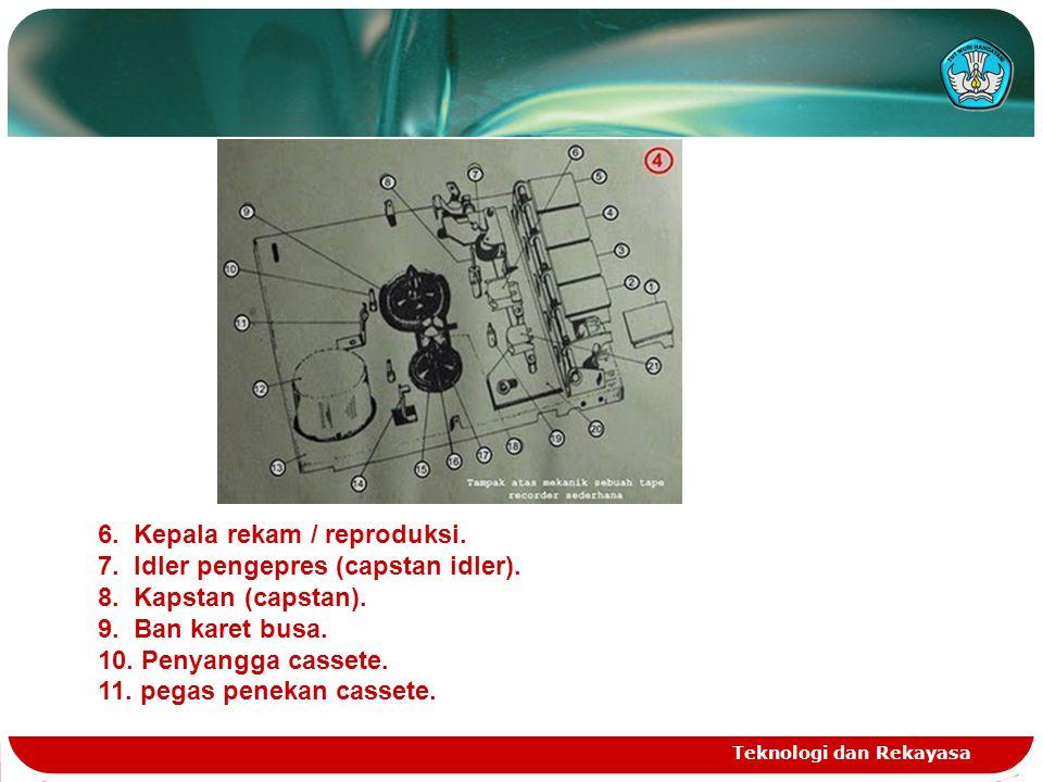 6. Kepala rekam / reproduksi. 7. Idler pengepres (capstan idler).