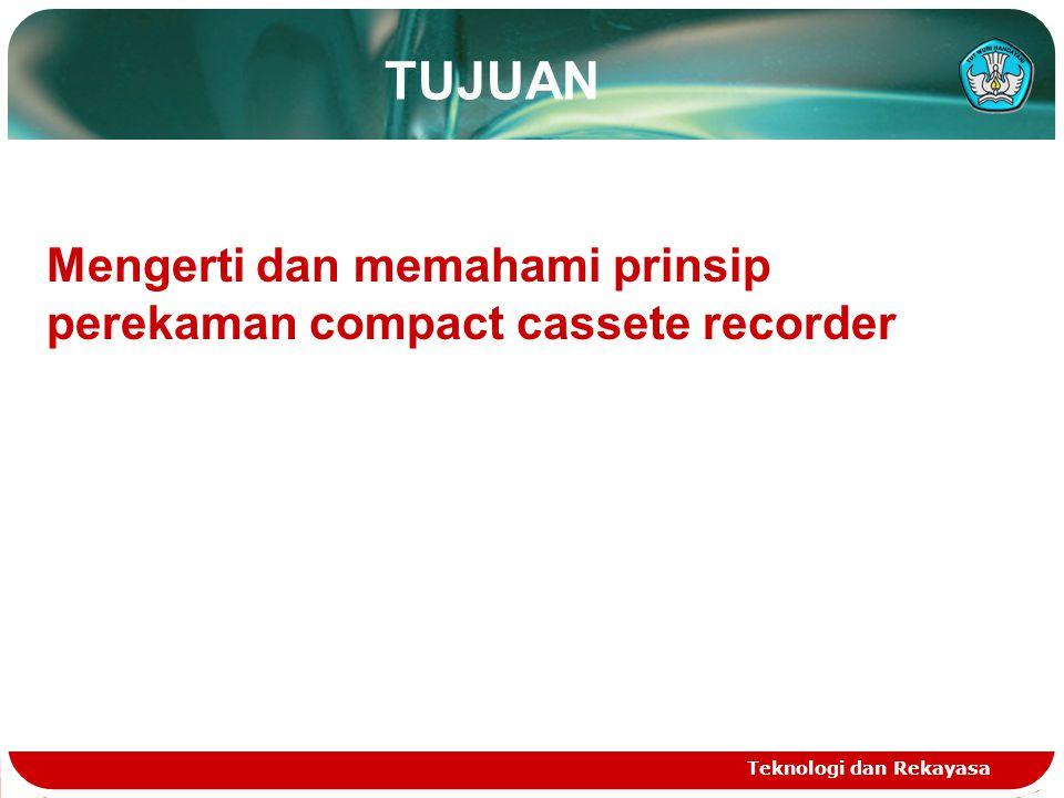 TUJUAN Mengerti dan memahami prinsip perekaman compact cassete recorder Teknologi dan Rekayasa