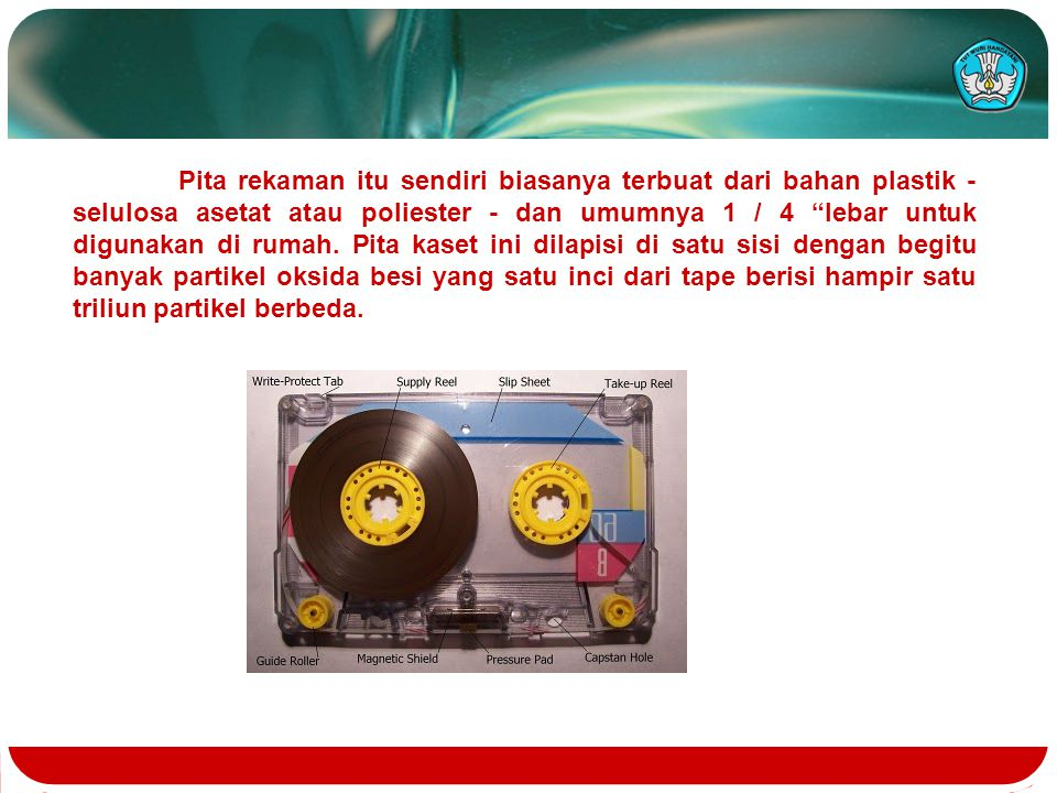 Pita rekaman itu sendiri biasanya terbuat dari bahan plastik - selulosa asetat atau poliester - dan umumnya 1 / 4 lebar untuk digunakan di rumah.