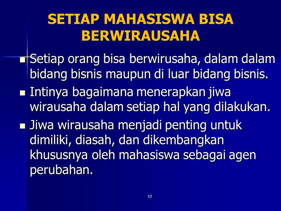SETIAP MAHASISWA BISA BERWIRAUSAHA