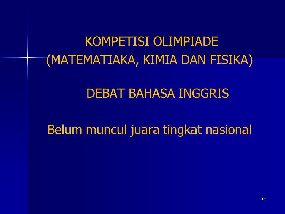 KOMPETISI OLIMPIADE (MATEMATIAKA, KIMIA DAN FISIKA) DEBAT BAHASA INGGRIS Belum muncul juara tingkat nasional