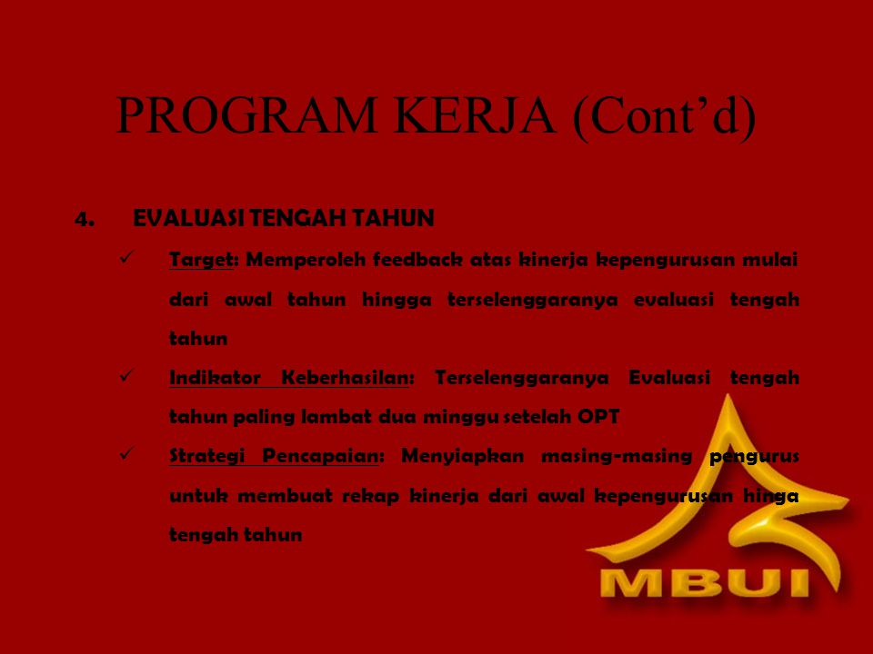 PROGRAM KERJA (Cont'd)