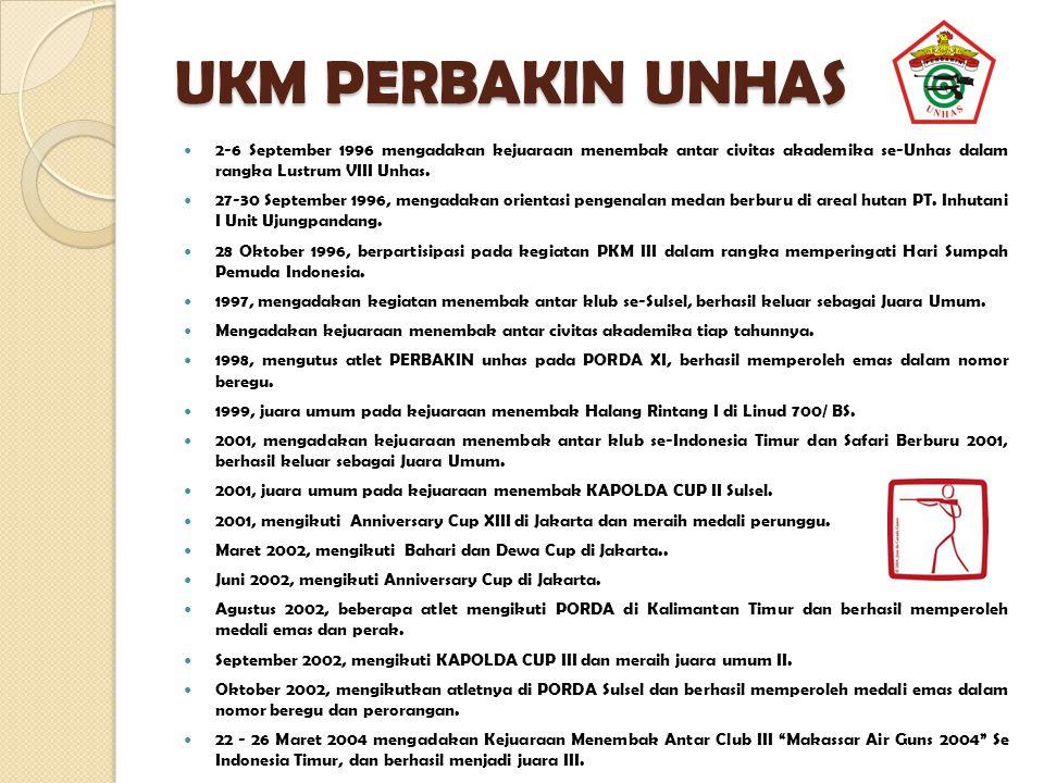 UKM PERBAKIN UNHAS 2-6 September 1996 mengadakan kejuaraan menembak antar civitas akademika se-Unhas dalam rangka Lustrum VIII Unhas.