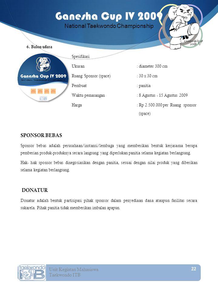SPONSOR BEBAS DONATUR 6. Balon udara Spesifikasi
