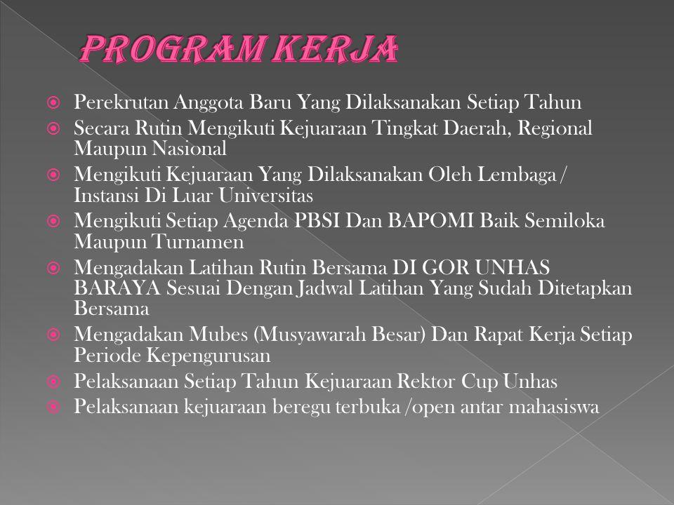 PROGRAM KERJA Perekrutan Anggota Baru Yang Dilaksanakan Setiap Tahun