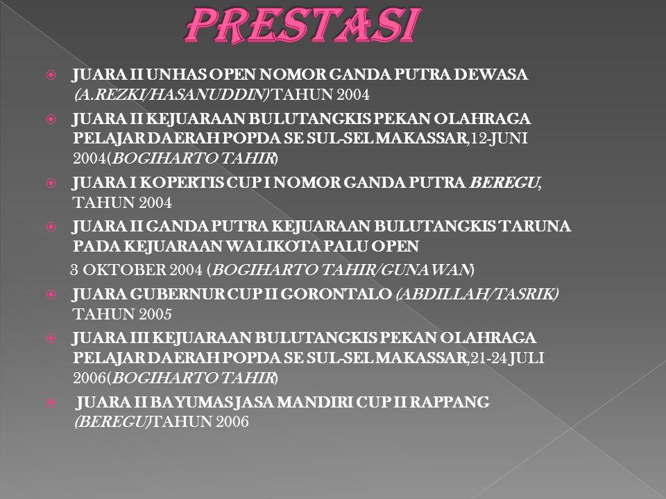 PRESTASI JUARA II UNHAS OPEN NOMOR GANDA PUTRA DEWASA (A.REZKI/HASANUDDIN) TAHUN 2004.