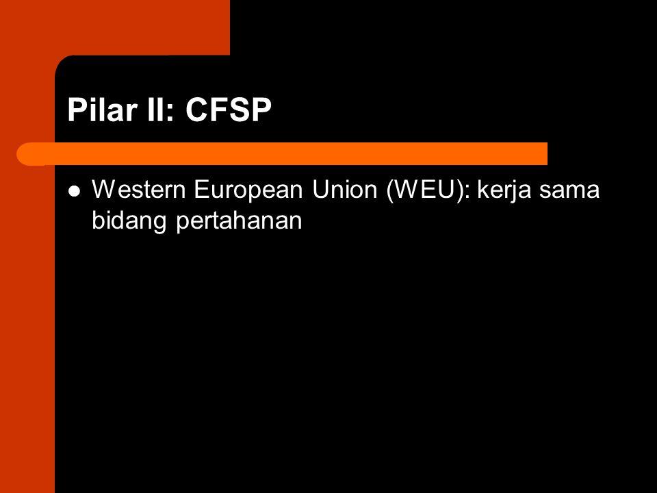 Pilar II: CFSP Western European Union (WEU): kerja sama bidang pertahanan