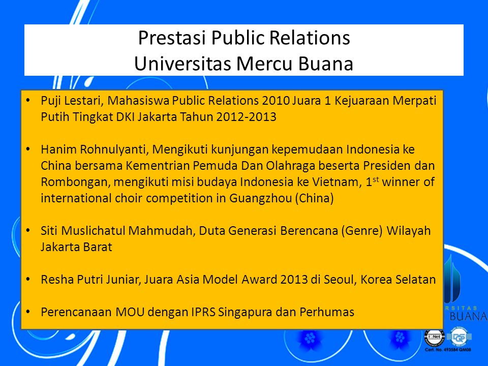 Prestasi Public Relations Universitas Mercu Buana