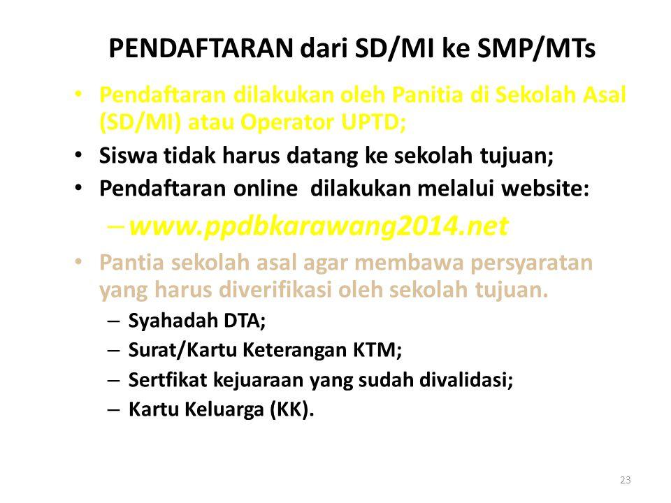 PENDAFTARAN dari SD/MI ke SMP/MTs