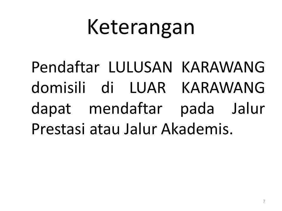 Keterangan Pendaftar LULUSAN KARAWANG domisili di LUAR KARAWANG dapat mendaftar pada Jalur Prestasi atau Jalur Akademis.