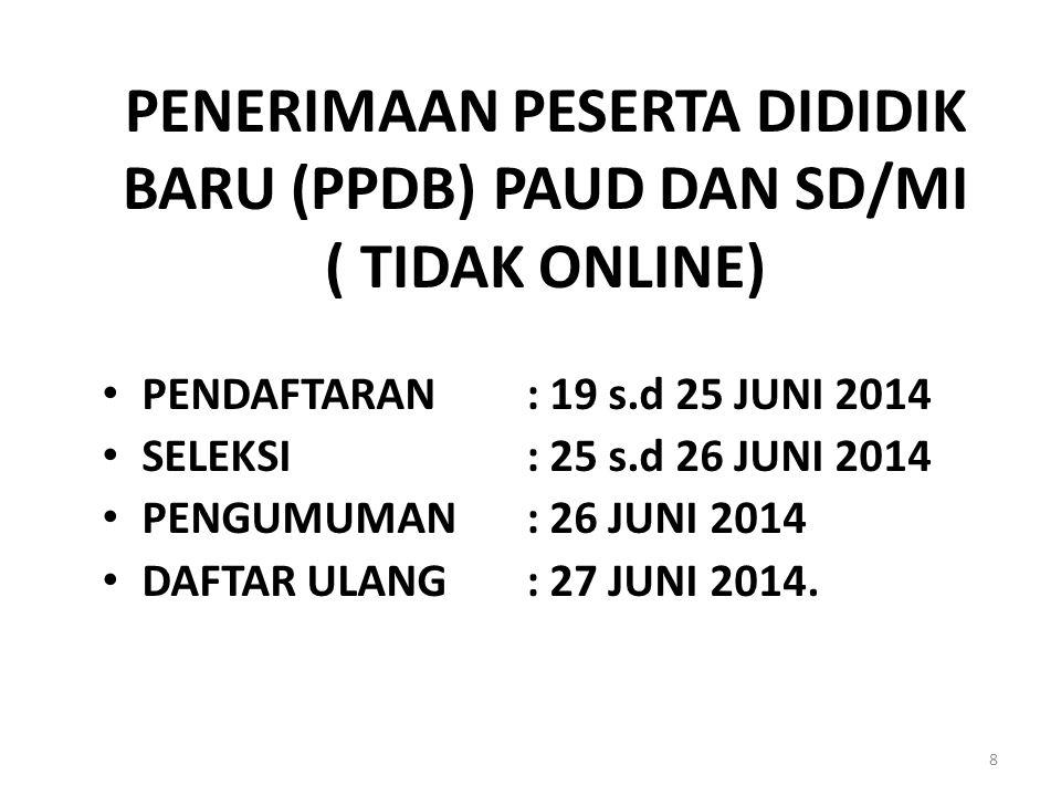 PENERIMAAN PESERTA DIDIDIK BARU (PPDB) PAUD DAN SD/MI ( TIDAK ONLINE)